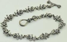 13 Skulls pocket watch chain fob Victorian solid Sterling Silver Memento Mori