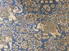 Indian Elephant Batik Cotton Indigo Blue 140cm wide Curtain/Craft Fabric