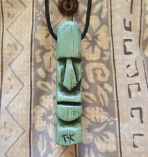 "Original Neat Tiki necklace from Tiki King, ""Stone Head"" in light green"