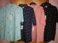 NWT NEW mens aqua blue graphic print HAGGAR s/s casual shirt $50 retail