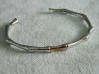Clogau Silver & 9ct Rose Welsh Gold Bamboo Bangle RRP £260.00