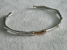 Clogau Sterling Silver & 9ct Rose Gold Bamboo Bangle RRP £260.00