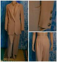 St John Collection Knits Gold Beige Jacket Pants L 12 10 2pc Suit Button Pockets
