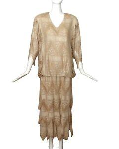 1980s Metallic Gold Fringe Dress, Size-Large