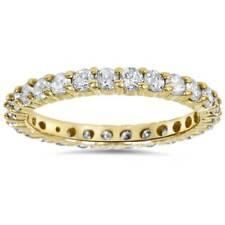 1 1/2 CT Diamante Anillo de la eternidad diente de oro amarillo 14K