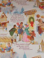 "VTG A CHRISTMAS CAROL WRAPPING PAPER TINY TIM CHARLES DICKENS 20"" X 30"" NOS"
