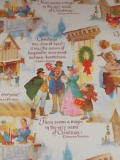 "VTG A CHRISTMAS CAROL WRAPPING PAPER TINY TIM CHARLES DICKENS 20"" X 30"" NOS"