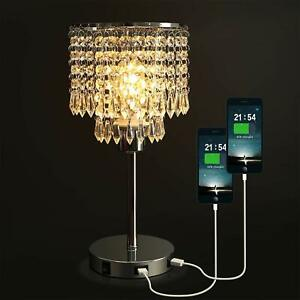 Crystal Bedside Table Lamp With Dual USB Charging Port Acaxin Nightstand Lamp