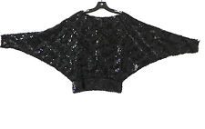 Vtg Partique Sequin/Lace Top Black Bat-Wing Boat Neck Size 8