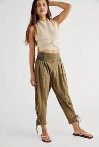 Free People Pants Jogger Billie Harem Olive Stretch Waist Lace Up Bottom M NWT