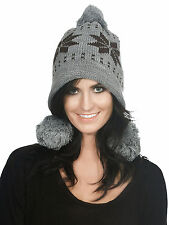 Women Girl Warm Winter Beanie Hat Knit Crochet Cap Ear Flap Snowflakes Pattern