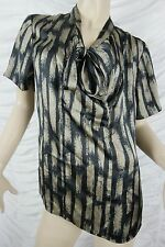 TRENT NATHAN black taupe geometric print short sleeve blouse size M GUC