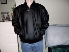 LEATHER BOMBER JACKET (FAUX LEATHER) BLACK,SIZE M