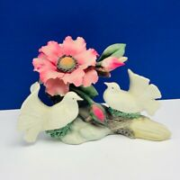 Capodimonte porcelain flower sculpture Italy figurine vtg doves napoli violet