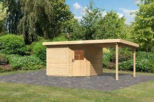 Karibu 28 mm Gartenhaus Neuruppin 3 Set natur mit Anbaudach 2,60m /nur Lieferung