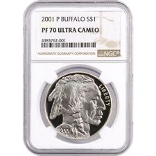 2001-P NGC PF70 Proof Buffalo Commemorative Silver One Dollar Coin