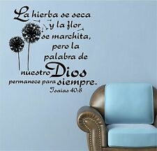 Wall Decal. Inspirational Wall Decal. Christian Home Decor. Biblia. Isaias 40:8