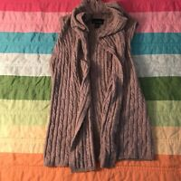 Cynthia Rowley Open Front Sleeveless Sweater Brown Merino Wool Blend Sz XS A437