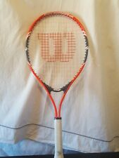 "Wilson Tennis Racket Federer 25 3 7/8"" Grip Used red white and black"