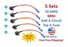 5 Set MINI Fuse Taps Holder Add-A-Circuit 16 AWG Gauge Car Auto Truck +15 Amp