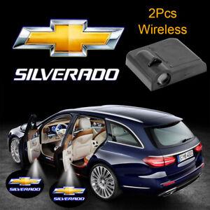 2pcs Chevy Logo SilveradoCar Door Wireless LED Projector Ghost Shadow Light