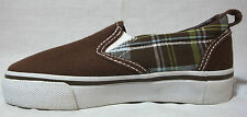 Gymboree Boys Brown & Plaid Canvas Slip-On Shoes Elastic Youth 11 Medium NEW