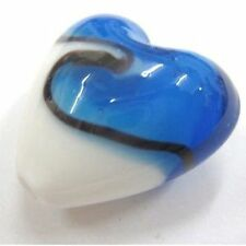 4 Pcs Lampwork Heart Glass Beads - 20mm - Blue & White - A4121