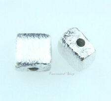 925 Sterling Silver 6mm cross-drilled Brushed puffed square Beads Findings 4pcs