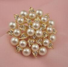 Enchapado En Oro Crema perlas de imitación y cristal de Estrás de Hoja Y Flor Broche