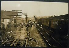 Vintage RP Green Spring West Virginia WV Train Wreck Station Classic Photo Image