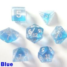 HD Aurora Gem Poly 7 Dice RPG Set Blue Pathfinder Dungeons Dragons D&D Role Play