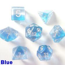 Aurora Gem Poly 7 DICE RPG Set Blue Pathfinder Donjons Dragons d&d Role Play HD