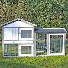 RABITT HUTCH 'Klopfer' with Run in grey white, 2 Tier, Cage House elevated Wood