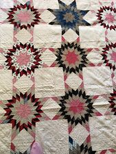 Antique Hand Pieced Hand Quilted Star Red Black Full Quilt