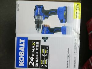 "KOBALT 24v MAX BRUSHLESS 2 Tool Combo Kit 1/2"" Drill Driver 1/4"" Impact Wrench"