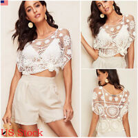 Women Lace Crochet T Shirts Fashion Ladies Summer Beach Casual Blouse Tops Shirt