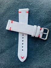 20mm LIGHT GRAY Vintage Suede Leather watch band strap RED stitch Fast Shipping