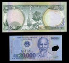 10,000 Iraqi Iraq Dinar + Free  20,000 Vietnam Dong UNC Banknote Set 10000 20000