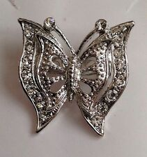 butterfly brooch.bridal stunning Rhodium crystal