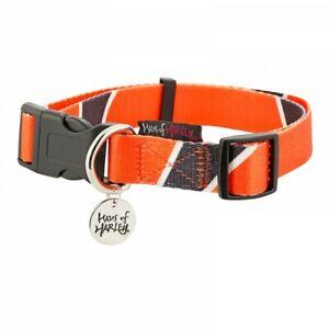 Haus of Harley Metron designer dog collar - Sunset orange/black - 3 sizes