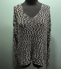 Eileen Fisher Black White Mesh High Low Cotton Nylon Long Sleeve Sweater L Euc