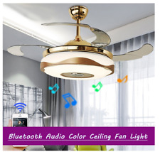 42'' Bluetooth Light Invisible Ceiling Fan Music Player LED  7-Color Chandeliers