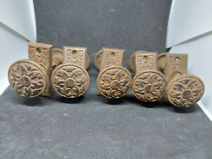 antique Hardware 5 sets of 2 knob one back plate ornate metal  salvaged