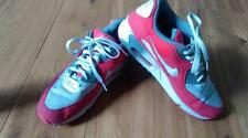 NIKE AIR MAX 90 UK 8.5 CHALLENGE RED WHITE MEDIUM GREY SUEDE TRAINERS 325213 116