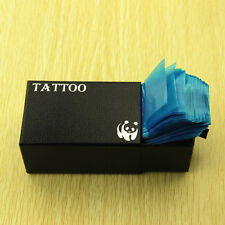"""100Pcs Tattoo Machine Clip Cord Pollution-free Plastic Covers Bags 2*24"""" Blue"""