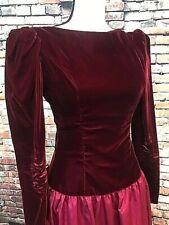 VTG ILGWU Deep Red Velvet Costume Victorian Dress, Size 8, Rear Bow
