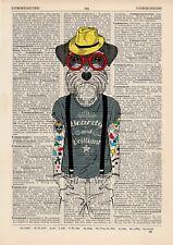 Tatoué Terrier Dictionnaire Accrochage Art Animal Print Vintage En Vêtements