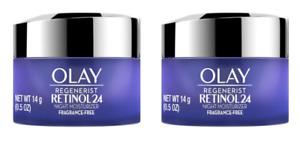 2 Pack Olay Regenerist Retinol 24 Night Facial Moisturizer 0.5 oz Each