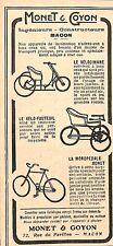 """MACON CYCLES VELOS """" MONET & GOYON """" PUBLICITE 1920"""