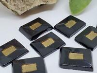 Vintage German Black Rectangle with Gold Accents Glass Cabs Cabochons Jewelry